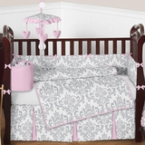 Elizabeth Pink and Gray Damask Baby Bedding 9 Pc Crib Set