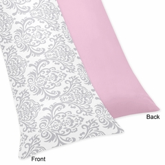 Elizabeth Pink and Gray Damask Body Pillow Cover