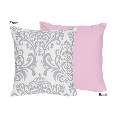 Elizabeth Pink and Gray Damask Decorative Accent Throw Pillow