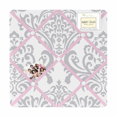 Elizabeth Pink and Gray Damask Fabric Memo Board