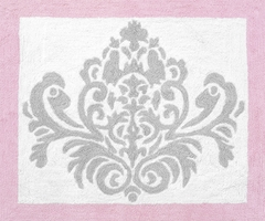 Elizabeth Pink and Gray Damask Rug