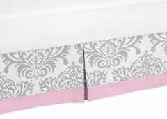 Elizabeth Pink and Gray Damask Toddler Bed Skirt