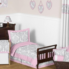 Elizabeth Pink and Gray Damask Toddler Bedding Set