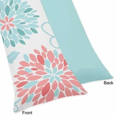 Emma Turquoise and Coral Flower Body Pillow Cover