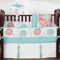 Emma Turquoise and Coral Flower Crib Bedding - 9 Pc Crib Set