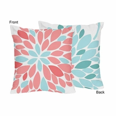 Emma Turquoise and Coral Flower Throw Pillows