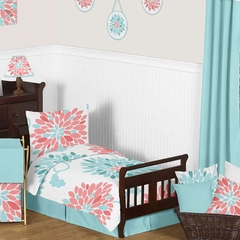 Emma Turquoise and Coral Flower Toddler Bedding Set