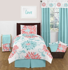 Emma Turquoise and Coral Flower Twin Bedding - 4 Pc Set
