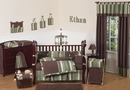 Ethan Boys Green and Brown Modern Baby Bedding - 9 Piece Crib Set