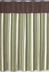 Ethan Green and Brown Stripe Shower Curtain by Sweet Jojo Designs