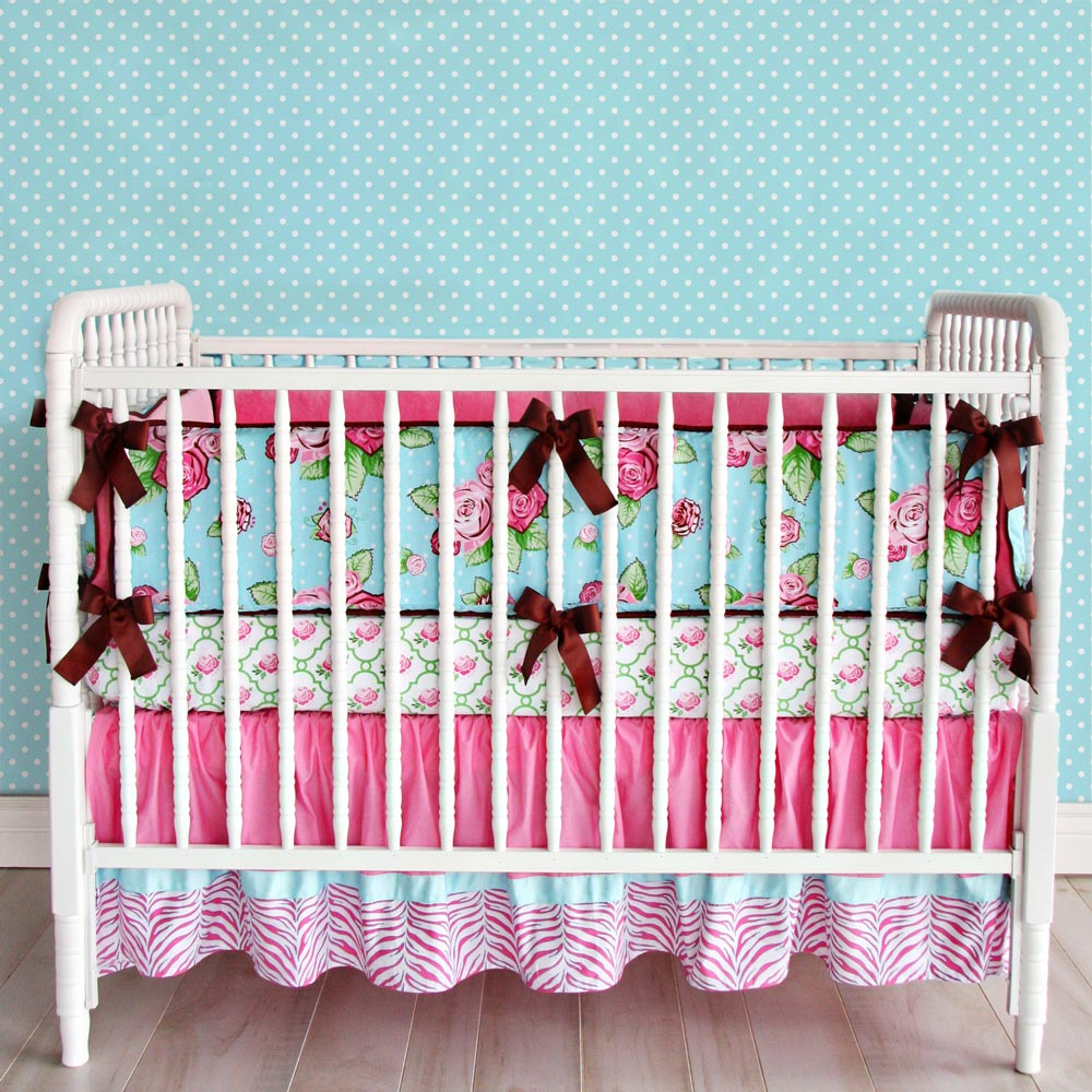 shabby chic baby bedding in pink and turquoise caden lane 32 jpg