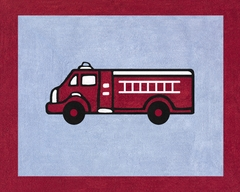 Frankie's Fire Truck Accent Floor Rug by Sweet Jojo Designs