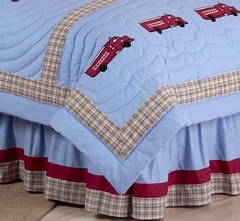 Frankie's Fire Truck Queen Bed Skirt by Sweet Jojo Designs