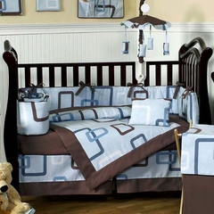 Geo Blue Modern Baby Bedding - 9 Piece Crib Set