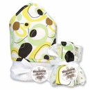Giggles Dot Hooded Towel and Washcloth Set