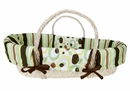 Giggles Green and Brown Moses Basket Set