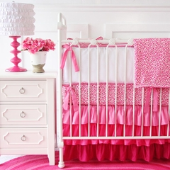 Girls Pink Leopard Print Ruffle Baby Bedding Crib Set - Caden Lane