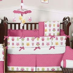 Girls Pink Owl Baby Bedding 9 Pc Crib Set by Sweet Jojo Designs