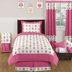 Girls Pink Owl Bedding - Kids Bedding Twin 4 Pc Set