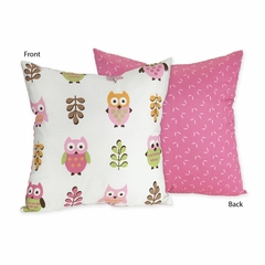 Girls Pink Owl Decorative Accent Throw Pillow