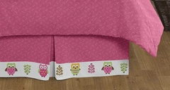 Girls Pink Owl Queen Bed Skirt by Sweet Jojo Designs