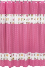 Girls Pink Owl Shower Curtain by Sweet Jojo Designs