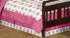 Girls Pink Owl Toddler Bed Skirt by Sweet Jojo Designs