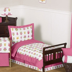 Girls Pink Owl Toddler Bedding Set by Sweet Jojo Designs