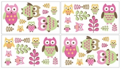 Girls Pink Owl Wall Decals by Sweet Jojo Designs