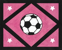 Girls Pink Soccer Accent Floor Rug by Sweet Jojo Designs