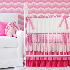 Girly Pink and Chevron Ruffle Baby Bedding - Caden Lane