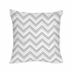 Gray and White Chevron Throw Pillow - Zig Zag Black & Gray Collection