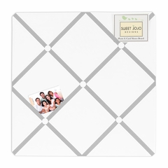Gray and White Modern Hotel Fabric Memo Board by Sweet Jojo Designs