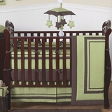 Green and Brown Modern Hotel Baby Bedding 9 Pc Crib Set