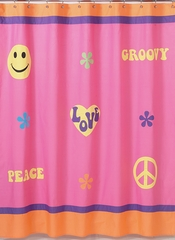 Groovy Love Peace Sign Bathroom Shower Curtain