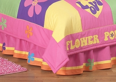 Groovy Love Peace Sign Queen Bed Skirt by Sweet Jojo Designs