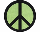 Groovy Peace Sign Lime Green Accent Floor Rug by Sweet Jojo Designs
