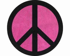 Groovy Peace Sign Pink Accent Floor Rug by Sweet Jojo Designs
