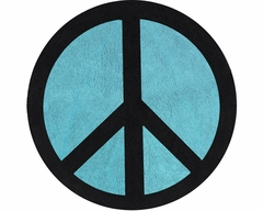 Groovy Peace Sign Turquoise Blue Accent Floor Rug