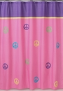 Groovy Pink and Purple Peace Sign Bathroom Shower Curtain