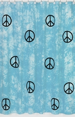 Groovy Tie Die Peace Sign Turquoise Blue Bathroom Shower Curtain