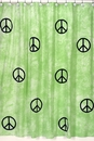 Groovy Tie Dye Peace Sign Lime Green Bathroom Shower Curtain