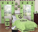 Groovy Tie Dye Peace Sign Lime Green Bedding - 3 Piece Full/Queen Set