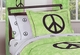 Groovy Tie Dye Peace Sign Lime Green Bedding - 4 Piece Twin Set
