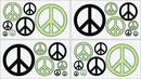 Groovy Tie Dye Peace Sign Lime Green Wall Decals by Sweet Jojo Designs
