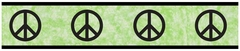 Groovy Tie Dye Peace Sign Lime Green Wall Paper Border