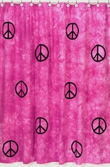 Groovy Tie Dye Peace Sign Pink Bathroom Shower Curtain