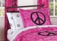 Groovy Tie Dye Peace Sign Pink Bedding - 4 Piece Twin Set