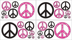 Groovy Tie Dye Peace Sign Pink Wall Decals by Sweet Jojo Designs