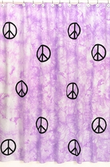 Groovy Tie Dye Peace Sign Purple Bathroom Shower Curtain